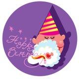 Härlig vektorillustration av ett hälsningkort för lycklig födelsedag Fotografering för Bildbyråer