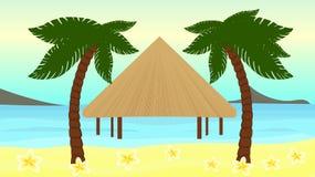 Härlig vektorillustration av sjösidan av den tropiska ön Arkivbild