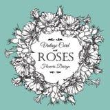 Härlig vektorillustration Rund ram med rosor i tappningstil Arkivbild