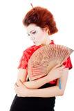härlig ventilatorståendekvinna royaltyfri bild