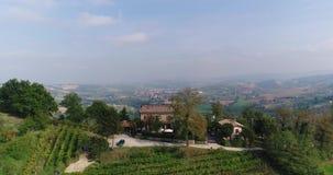 Härlig vingård överst av ett berg, i bakgrunden av en gammal italiensk stad stock video
