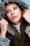 härlig vinterkvinna Arkivfoto