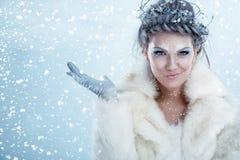 härlig vinterkvinna royaltyfri fotografi