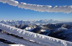 Härlig vinterlandscaoe i carpathians Arkivfoton
