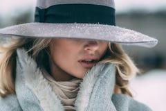 Härlig vinterstående av den unga kvinnan i det snöig landskapet för vinter royaltyfria bilder