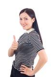 Härlig visningtumme för ung kvinna upp tecken Royaltyfri Foto