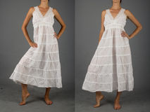 Härlig vit klänning med den orientaliska prydnaden Royaltyfri Foto