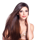 Härlig vit nätt kvinna med långt rakt hår Royaltyfria Foton