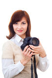 Härlig vuxen kvinna med kameran Royaltyfri Foto