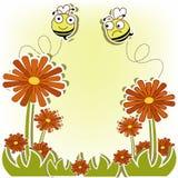 Härlig vykort med bin och blommor Royaltyfri Bild