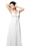 härlig white för bröllop för brudklänningflicka Arkivbilder