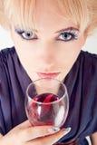 härlig winekvinna Royaltyfri Foto