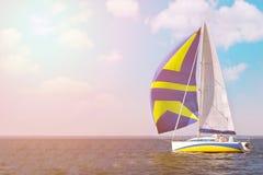 HÄRLIG yacht på full spead som utbildar för det oidentifierade laget för fartyglopp kopiera avstånd arkivfoto