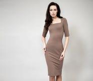 Härlig yrkesmässig modell i klänning för mörk brunt royaltyfri bild