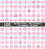 Härliga abstrakta blommasymboler. Vektor Arkivbild