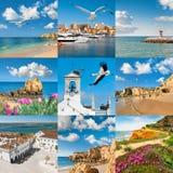 Härliga Algarve, sydkust av Portugal, uppsättning av nio bilder Royaltyfri Foto