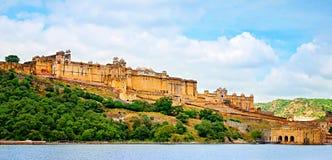 Härliga Amber Fort, Jaipur, Rajasthan, Indien Arkivbilder