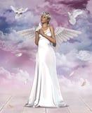 Härliga Angel Woman och duvor Arkivfoto