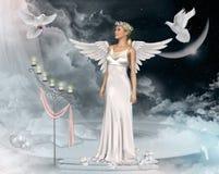 Härliga Angel Woman och duvor Royaltyfri Bild
