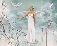 Härliga Angel Woman och duvor Royaltyfri Fotografi