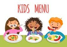 Härliga barns tyckande om sunda lunch i kafeteria vektor illustrationer