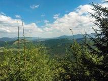 Härliga berg för Carpatian sommarlandskap med molnig himmel b royaltyfri bild