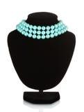 härliga blåa skyltdockahalsbandpärlor Royaltyfri Foto