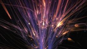 Härliga blått och röd bakgrund av glödande partiklar och linjer med djup av fältet och bokeh 3d illustration, 3d vektor illustrationer