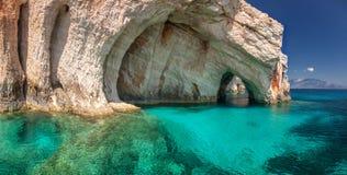 Blåttgrottor, Zakinthos ö, Grekland Arkivbilder