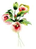 härliga blommor stock illustrationer