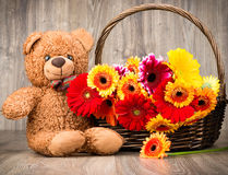 Härliga blommor i korgen och en nallebjörn Arkivfoton