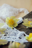 härliga blommor Kvinnors för mars 8 kort för dag Bukettsnödroppar på träbakgrund Arkivfoton