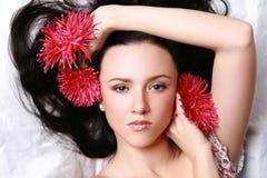 härliga blommor model red fotografering för bildbyråer
