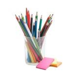 Härliga blyertspennor i exponeringsglaset Royaltyfria Bilder