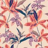 Härliga botaniska sidor för pastellfärgad sömlös modellvektor för skog i illustrationdesignen för mode, tyg, tapet, och royaltyfri illustrationer