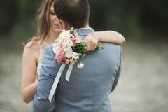 Härliga brölloppar, brud, ansar att kyssa och att posera på bron nära sjön Royaltyfri Bild