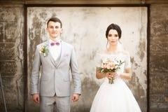 Härliga brölloppar som poserar nära den gamla väggen arkivbild