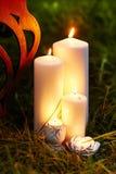 Härliga brinnande vaxstearinljus med julgarnering, slut upp royaltyfri bild