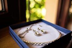 Härliga brud- smycken boxas uppsättning Arkivbilder