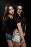Härliga brunetter i studion Fotografering för Bildbyråer