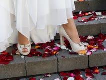 Härliga brunn-ansade kvinnliga ben med en pedikyr i beigea öppna skor med häl står på momenten av trappan arkivfoton
