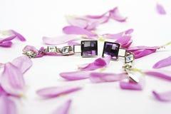 Härliga crystal earings med lilapetals Royaltyfri Foto