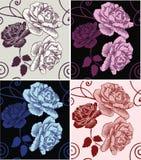 Härliga dekorativa rosor för sömlös modell Arkivfoto