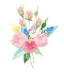Härliga delikata mjuka gulliga eleganta älskvärda blom- färgrika vårsommarrosa färger och röda rosor och blåa purpurfärgade vildb stock illustrationer