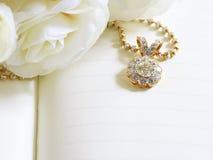 Härliga Diamond Pendant för bakgrund, selektiv fokus Royaltyfria Bilder