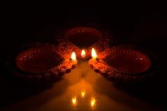 Härliga Diwali Candels Arkivbilder
