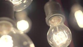 Härliga Edison lampor stock video