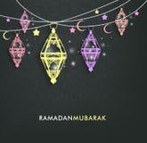 Härliga eleganta Ramadan Mubarak Lanterns Arkivfoto