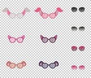 Härliga exponeringsglas med öron av djur, uppsättning Genomskinliga linser och extra linser med den variabla stordian Royaltyfri Fotografi
