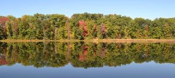 Härliga färger för nedgångreflexionsträd på sjön arkivbild